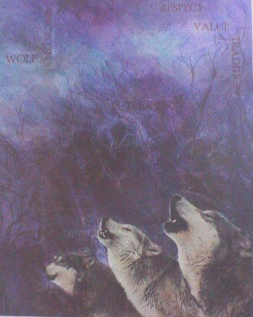 Group of three wolves howling at the moon at night in a forest.