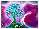 Sky Woman lived in the cosmic world  Where the Light Tree is blooming