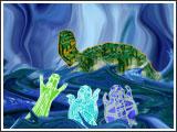 Les animaux qui vivaient dans une bulle d'eau Furent pris d'effroi Devant cette lumière qui  venait vers eux