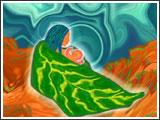 Les semences du monde des cieux  Poussèrent rapidement Permettant à la femme céleste  D'accoucher d'une petite fille À qui les deux mères offrirent  Le chant de l'univers